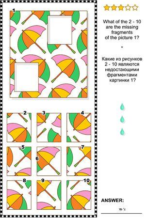 Visuelles Logikrätsel: Welche der 2-10 sind die fehlenden Fragmente von Bild 1? Antwort enthalten.