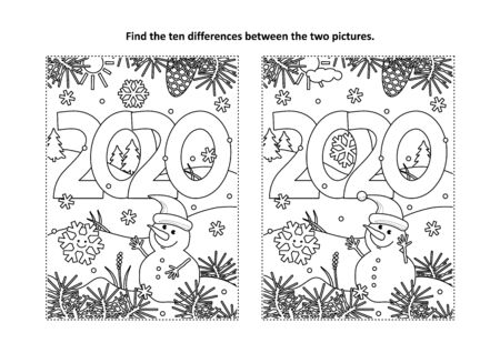 Year 2020 find the ten differences picture puzzle and coloring page with year 2020 heading and winter scene