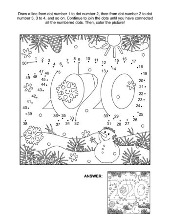 Year 2020 heading connect the dots picture puzzle and coloring page. Answer included.