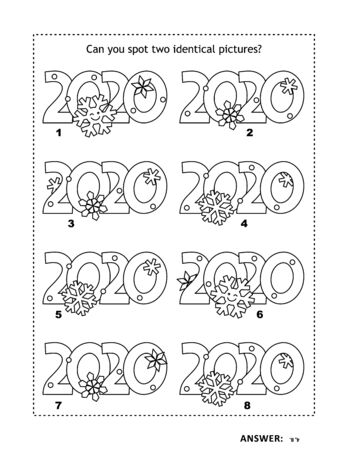 IQ training visual logic puzzle and coloring page with year 2020 headings. Winter holidays, Christmas or New Year themed. Find two identical pictures. Answer included. Ilustração