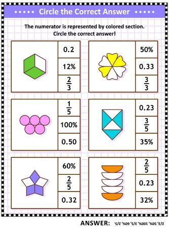 Rompecabezas matemático, hoja de trabajo o tarjetas de tareas para escolares y adultos. Encierre en un círculo la respuesta correcta. Encuentre el número equivalente para cada representación de fracción pictórica o visual. Respuesta incluida.