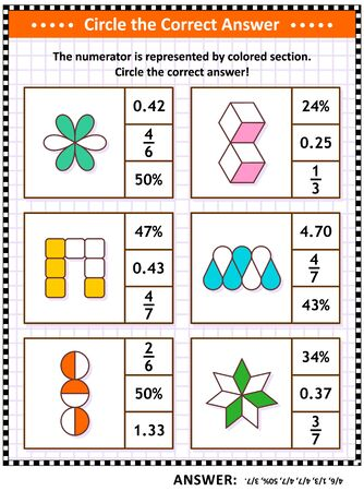 Math puzzle, worksheet or task cards for school children and adults. Circle the correct answer. Find the number equivalent for each pictorial, or visual, fraction representation. Answer included. Фото со стока - 129961246