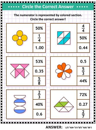 Math puzzle, worksheet or task cards for school children and adults. Circle the correct answer. Find the number equivalent for each pictorial, or visual, fraction representation. Answer included. Фото со стока - 129961247