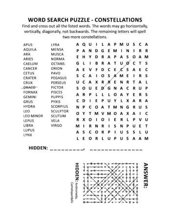 Sterrenbeelden woordzoekpuzzel (geschikt voor zowel kinderen als volwassenen). Antwoord inbegrepen.