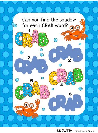 Visual puzzle or picture riddle with CRAB words: Can you find the shadow for each CRAB word? Answer included. Иллюстрация