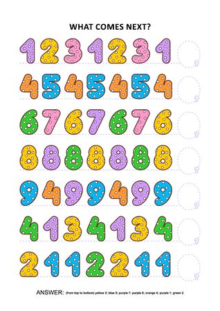 Basic skills practice logic game with colorful polka-dot numbers. Training sequential pattern recognition skills: What comes next in the sequence? Answer included.