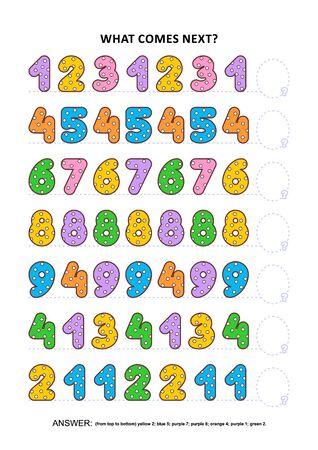 Juego de lógica de práctica de habilidades básicas con coloridos números de lunares. Entrenamiento de habilidades de reconocimiento de patrones secuenciales: ¿Qué sigue en la secuencia? Respuesta incluida.
