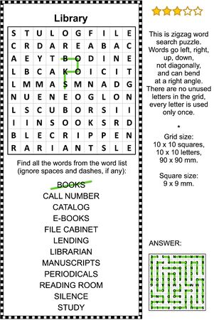 Library themed zigzag word search puzzle (suitable both for kids and adults). Answer included.