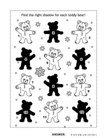 Visual puzzle or picture riddle with teddy bears: Can you find the shadow for each picture? Answer included. Vettoriali