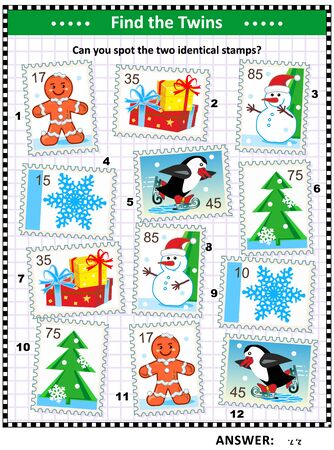 Christmas, winter or New Year picture puzzle with postage stamps: Can you spot two identical postage stamps? Answer included.
