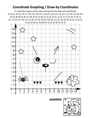Coordinate graphing, or draw by coordinates, math worksheet with Halloween fat cat, lying in wait for prey: To reveal the mystery picture plot and connect the dots with given coordinates. Answer included. Çizim
