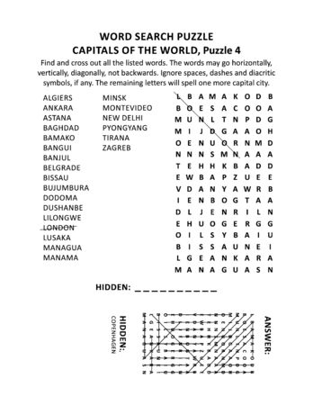 Capitals of the world word search puzzle or word game (English language), puzzle 4 of 10. Answer included.