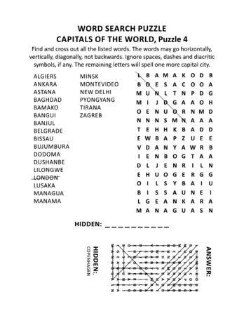 Stolice świata puzzle wyszukiwania słów lub gra słowna (język angielski), puzzle 4 z 10. Odpowiedź w zestawie.