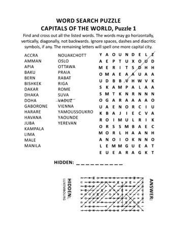 Capitales du monde puzzle de recherche de mots ou jeu de mots (langue anglaise), puzzle 1 sur 10. Réponse incluse.