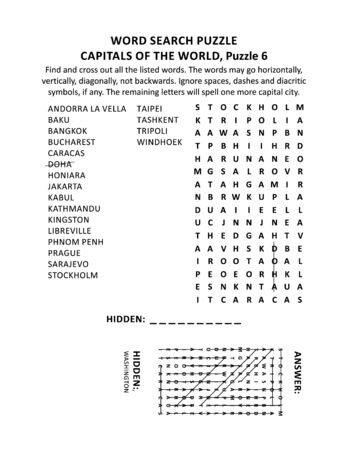 Capitals of the world word search puzzle or word game (English language), puzzle 6 of 10. Answer included. Illustration