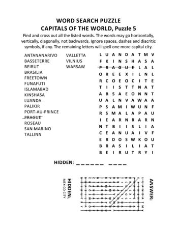 Capitals of the world word search puzzle or word game (English language), puzzle 5 of 10. Answer included.