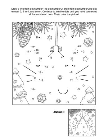 Winter, New Year or Christmas connect the dots picture puzzle and coloring page - bell ornament. Answer included.