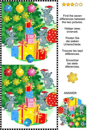 Winter holidays visual puzzle: Find the seven differences between the two pictures of mice, christmas tree and presents. Answer included.