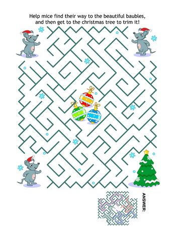 Winter holidays, Christmas or New Year maze game: Help the mice Santa helpers get to the christmas tree and trim it. Answer included.