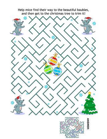 Wintervakantie, kerst- of nieuwjaars doolhofspel: help de muizen Santa-helpers om bij de kerstboom te komen en deze in te korten. Antwoord inbegrepen.
