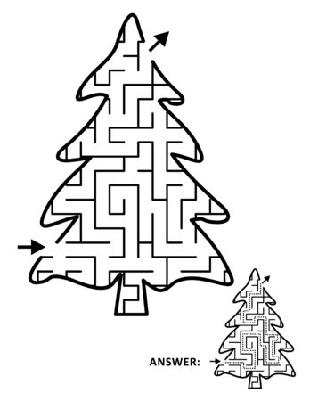 Christmas tree, or fir tree, shaped maze game for kids template. Answer included.
