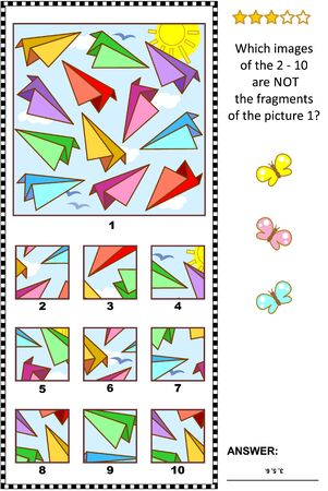 IQ training abstract visual puzzle with colorful paper planes: What of the 2 - 10 are not the fragments of the picture 1? Answer included.