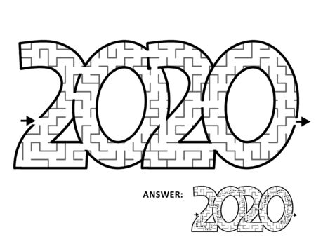Year 2020 maze game or labyrinth for kids and adults. Answer included.