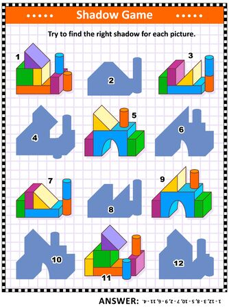 IQ and spatial reasoning training visual puzzle or picture riddle: Try to find the right shadow for every building blocks construction. Answer included.