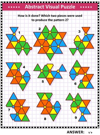IQ, memory and spacial reasoning skills training abstract visual puzzle: How is it done? Which two pieces were used to produce the pattern 2? Answer included.  イラスト・ベクター素材