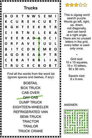 Trucks zigzag word search puzzle (suitable both for kids and adults). Answer included.