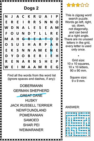 Dog breeds zigzag word search puzzle 2 (suitable both for kids and adults). Answer included.