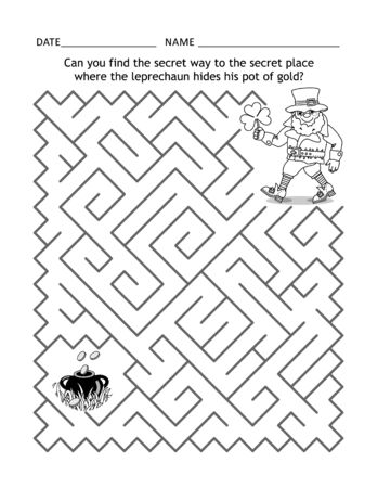 St Patrick's Day maze game or activity page for children: Can you find the secret way to the secret place where the leprechaun hides his pot of gold? Ilustração