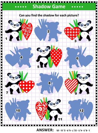 St Valentine's Day themed shadow matching game with panda bears and decorative hearts: Try to find the shadow for every picture. Answer included.