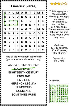Limerick verses themed zigzag word search puzzle (suitable both for schoolchildren and adults). Answer included.