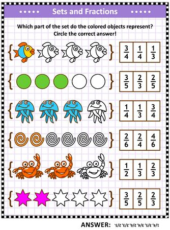 Math puzzle or worksheet for schoolchildren and adults with pictorial fraction representations by sets. Answer included. Ilustración de vector