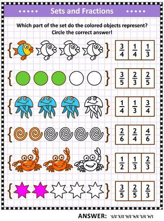 Rompecabezas u hoja de trabajo matemática para escolares y adultos con representaciones de fracciones pictóricas por conjuntos. Respuesta incluida. Ilustración de vector
