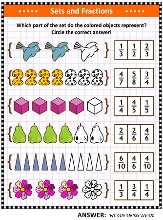 Math puzzle or worksheet for schoolchildren and adults with pictorial fraction representations by sets. Answer included.