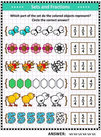Rompecabezas u hoja de trabajo matemática para escolares y adultos con representaciones de fracciones pictóricas por conjuntos. Respuesta incluida.