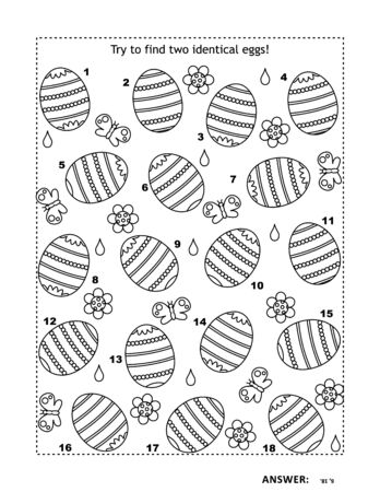 Easter themed black and white picture puzzle with painted eggs: Try to find two identical eggs! Answer included.