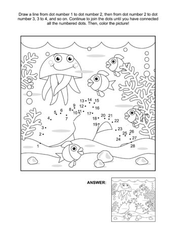 Connect the dots picture puzzle and coloring page, underwater life themed, with amphorae, fish, jellyfish, seabed, algae. Answer included. Vektoros illusztráció