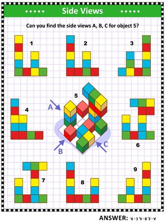 IQ, memory and spatial reasoning training educational math puzzle with building blocks: Can you find the side views A, B, C for object 5? Answer included.
