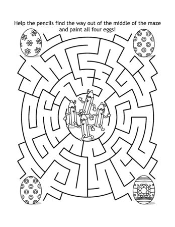 Easter maze game and coloring page for kids with pencils and painted eggs: Help the pencils find the way out of the middle of the maze and paint all four eggs!