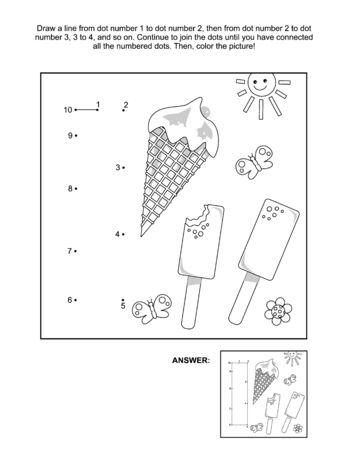 This is math and literacy reinforcement worksheet for little students with letter I dot-to-dot activity and picture which name starts with this letter of English alphabet (ice-cream). Answer included.