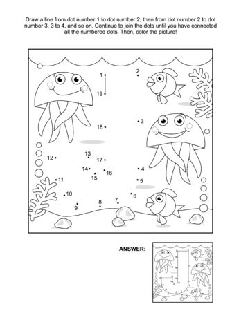 This is math and literacy reinforcement worksheet for little students with letter J dot-to-dot activity and picture which name starts with this letter of English alphabet (jellyfish). Answer included.