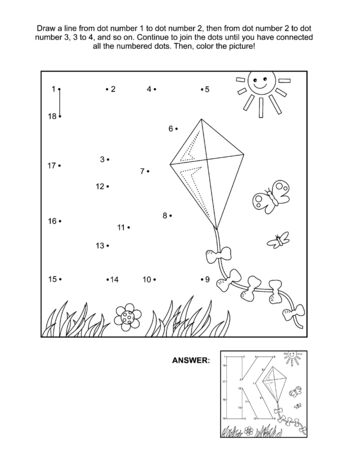 This is math and literacy reinforcement worksheet for little students with letter K dot-to-dot activity and picture which name starts with this letter of English alphabet (kite). Answer included.