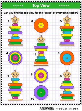 Visual puzzle with top view of ring stacker clowns: Can you find the top view for the