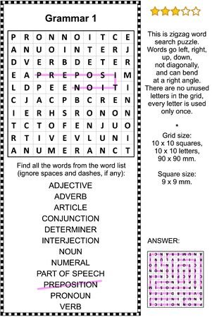 Grammar themed zigzag word search puzzle (suitable both for kids and adults). Answer included.