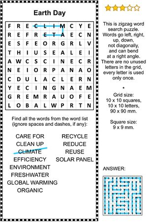Earth Day celebration themed zigzag word search puzzle (suitable both for kids and adults). Answer included.