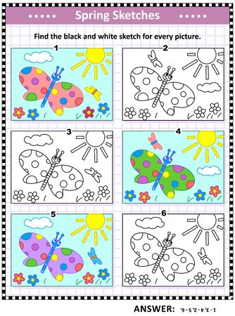 Visual puzzle: Find the black and white sketch for every colorful picture of butterflies, sun, flowers.