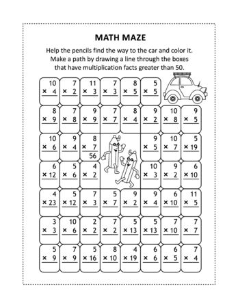 Math maze for young students to learn or reinforce multiplication facts up to100: Help the pencils find the way to the car and color it. Make a path by drawing a line through the boxes that have multiplication facts greater than 50. 일러스트